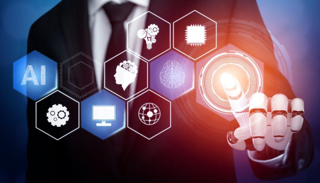 humano tocando un botón de machine learning
